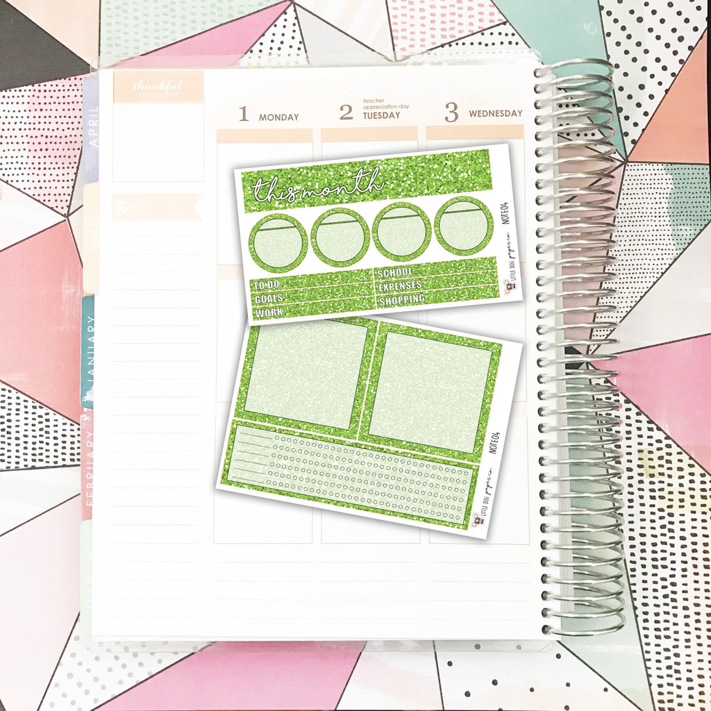 Green Glitter Notes Pages Kit