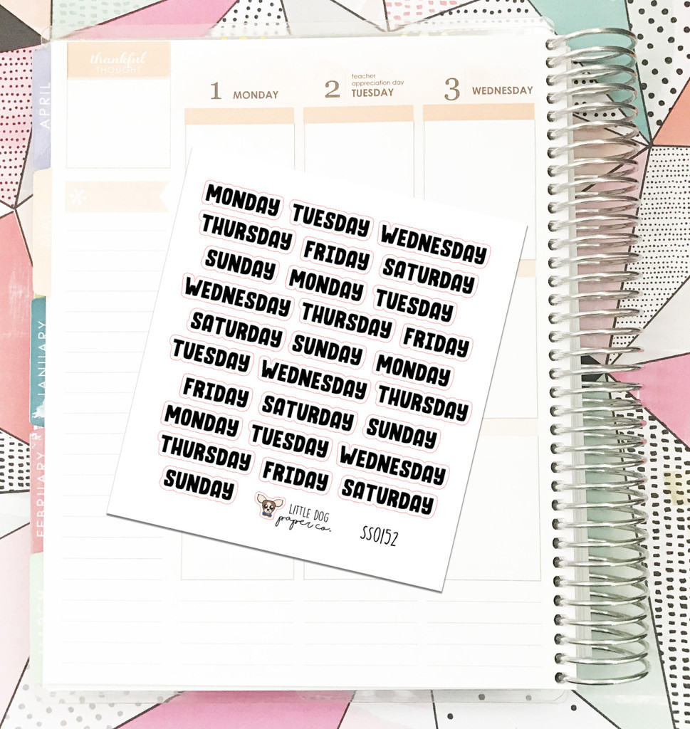 Days of the Week Block 1 Stickers