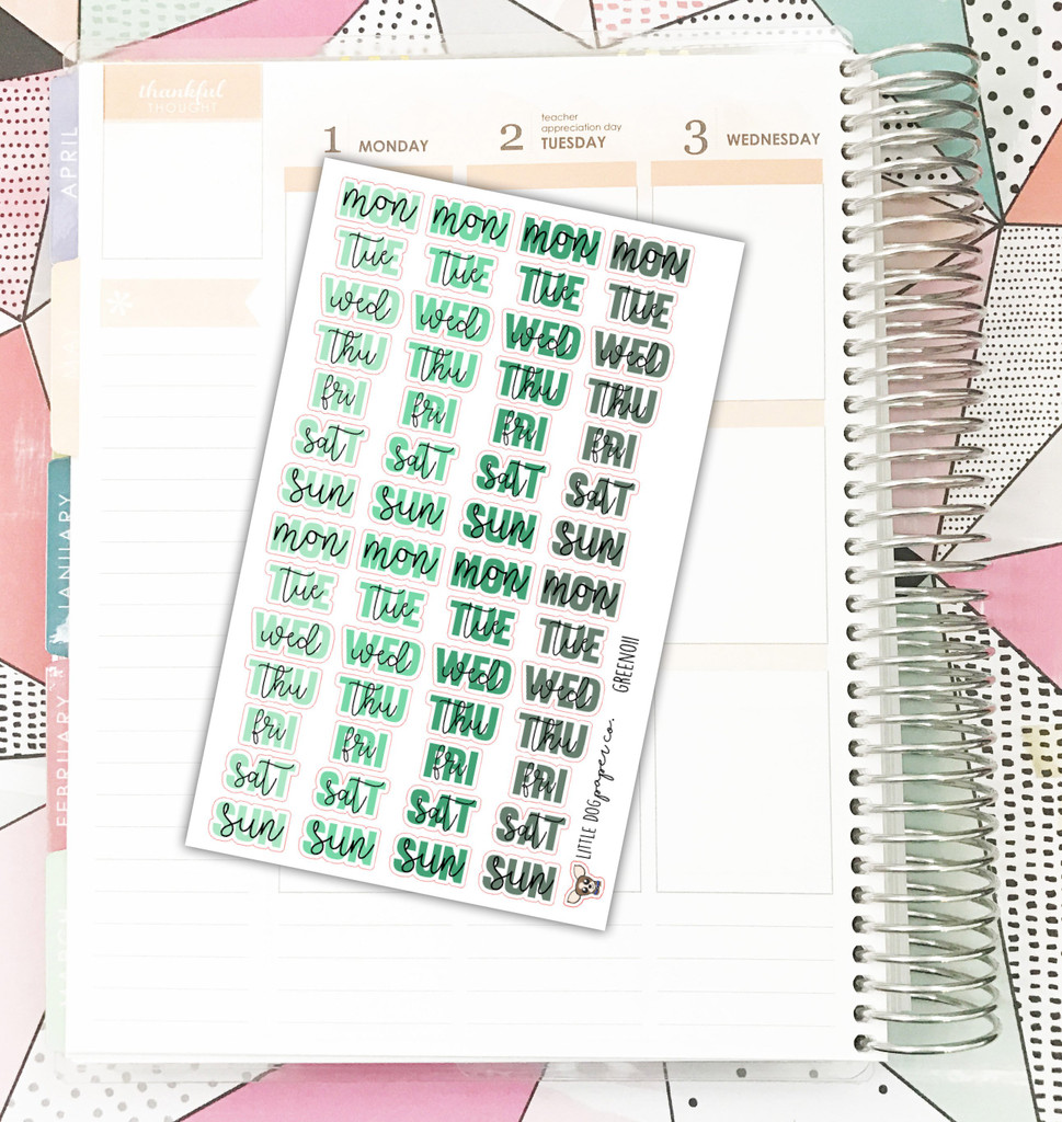 Green Weekday Header Stickers