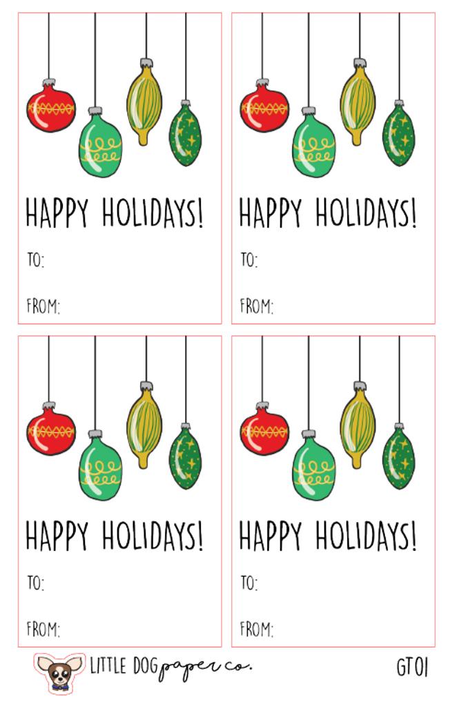 Happy Holidays Christmas Bulbs Gift Tags