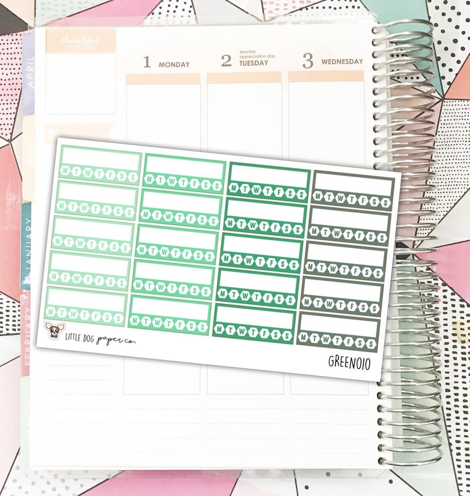 Green Habit Tracker Stickers