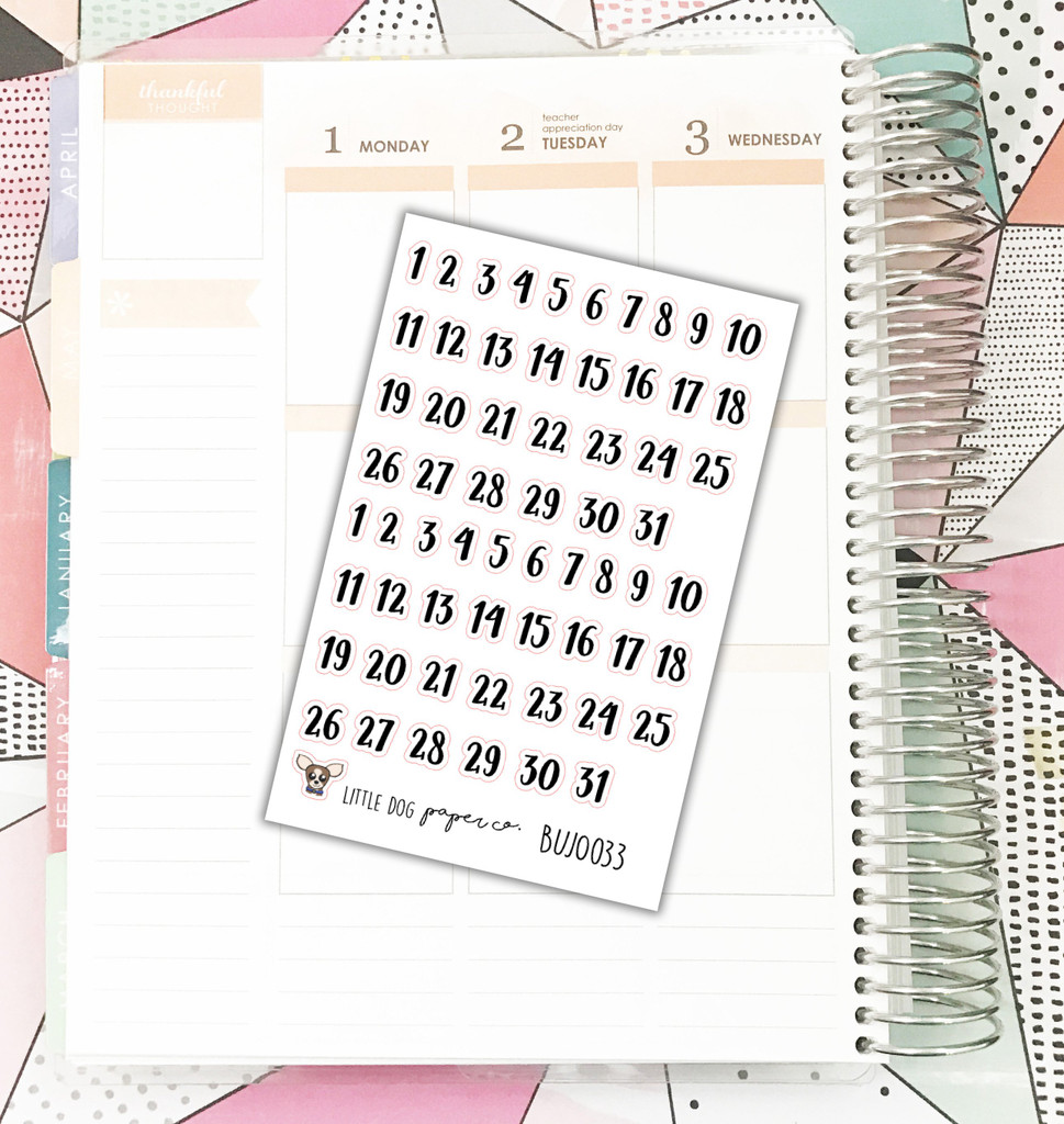 Brush Script Number Stickers