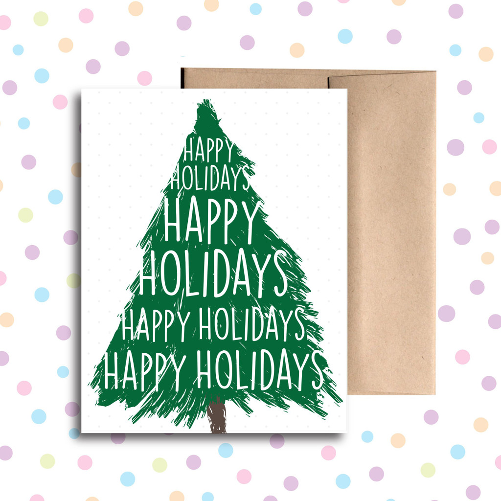 Happy Holidays Christmas Tree Card