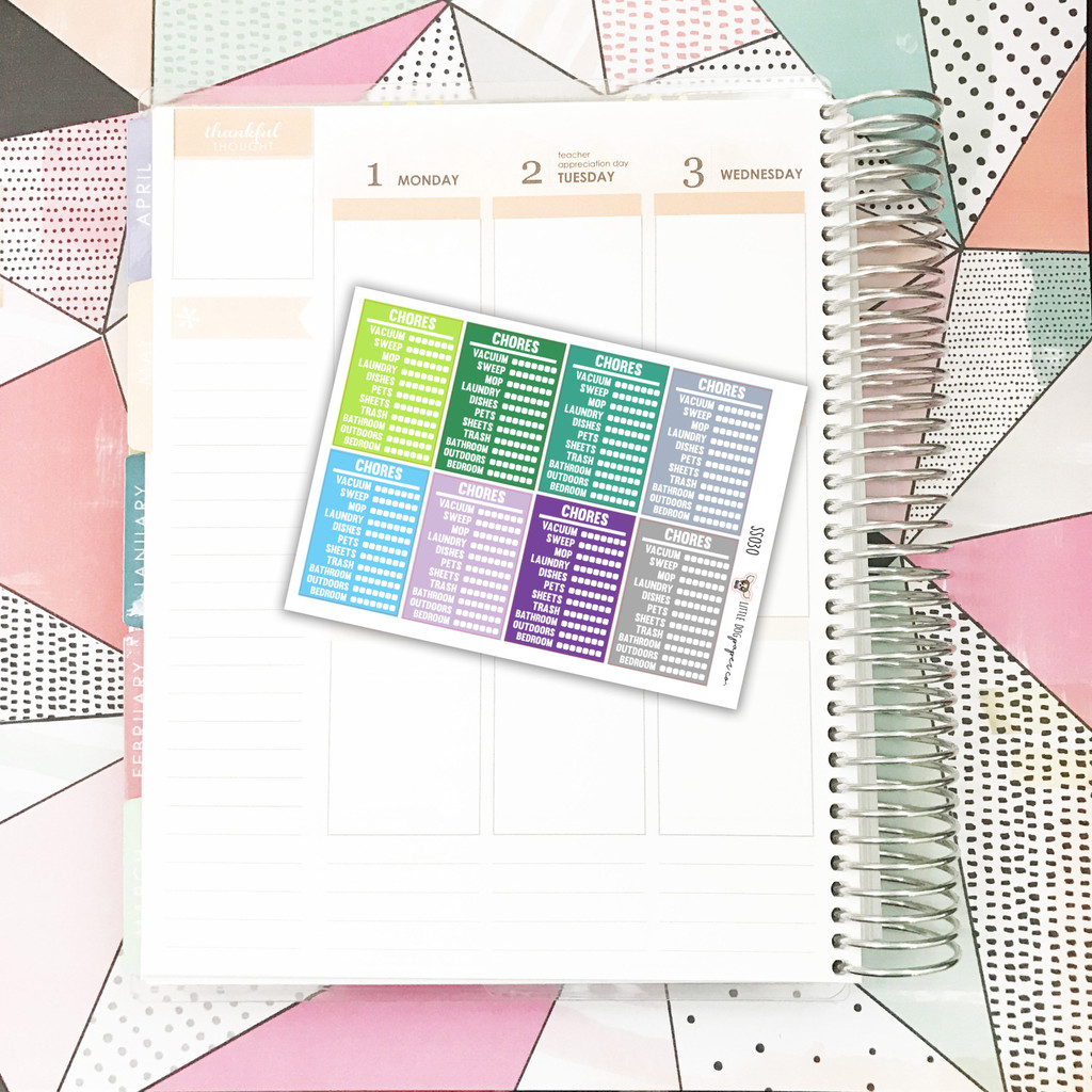 Stackable Sidebar | Chore Tracker | Cool Colors Stickers