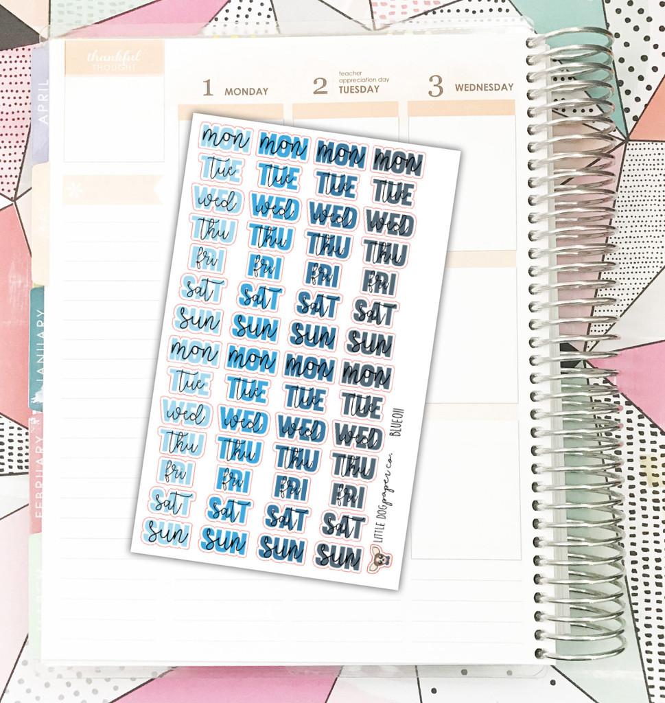 Blue Weekday Header Stickers