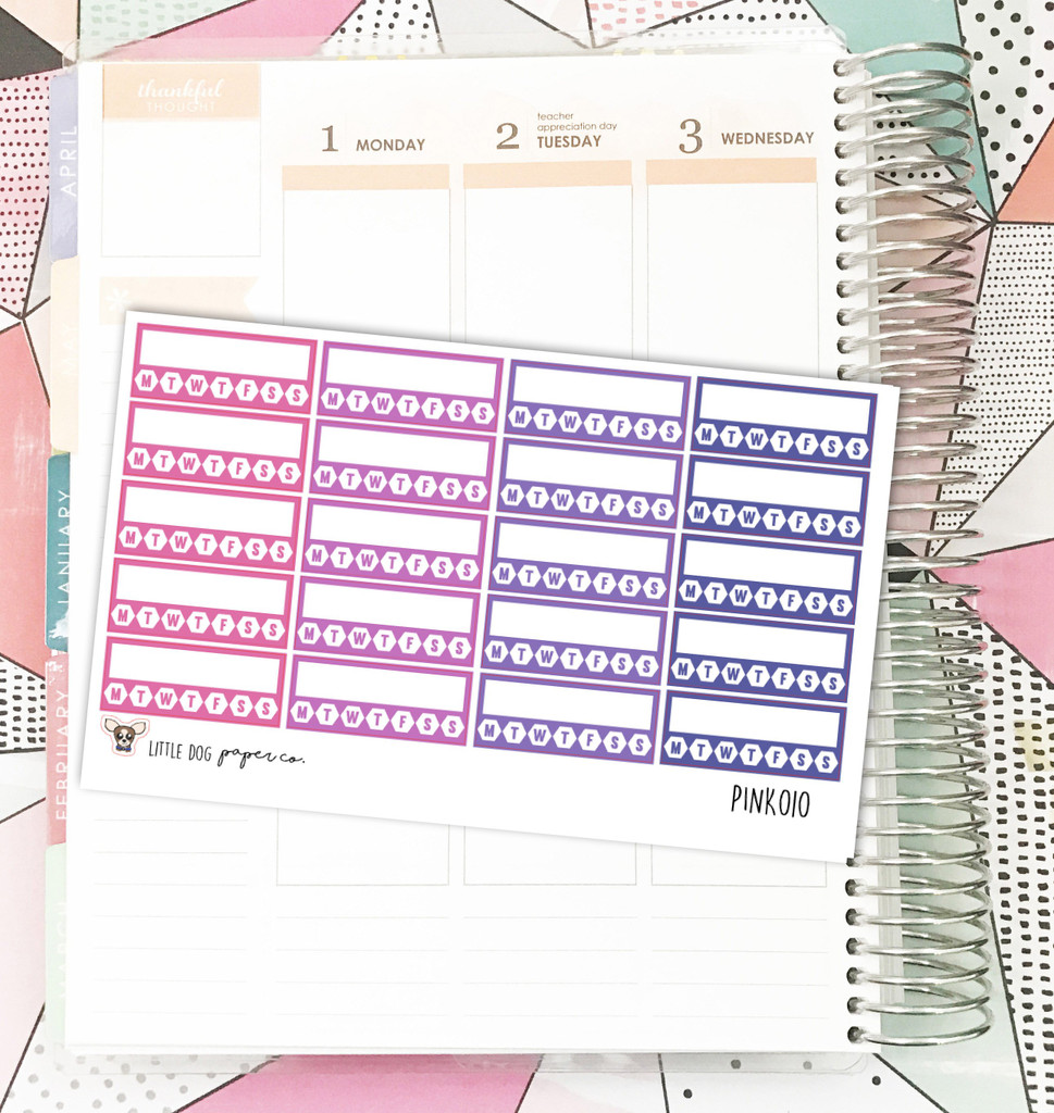 Pink Habit Tracker Stickers