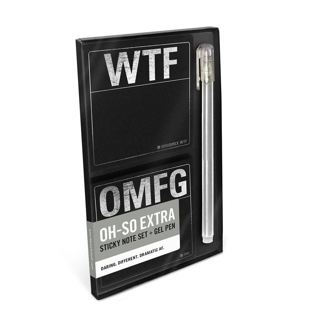 WTF/OMFG Sticky Note Set and Gel Pen
