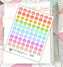 80 Colorful Pawprint Stickers