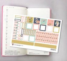 Flamingos Hobonichi Sticker Kit