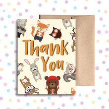 Hipster Animal Thank You Card