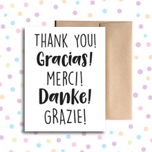 Thank You in 5 Languages Card