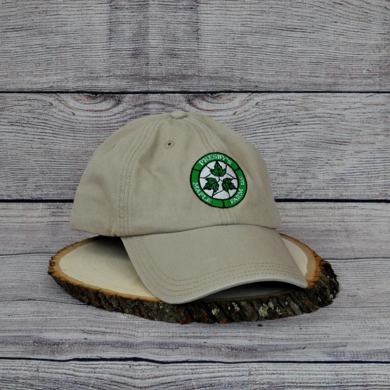 Presby's Maple Farm LLC ball cap find it on the Maplewood Golf club course.