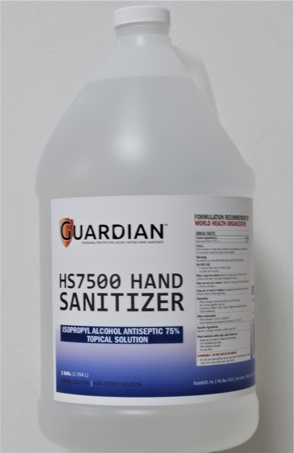 Guardian HS7500 Hand Sanitizer, 75% Isopropyl Alcohol, One (1) Gallon Bottles
