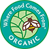 Official ICS Certified Organic certification, identifying New Chapter vitamins made with organic vegetables and herbs.