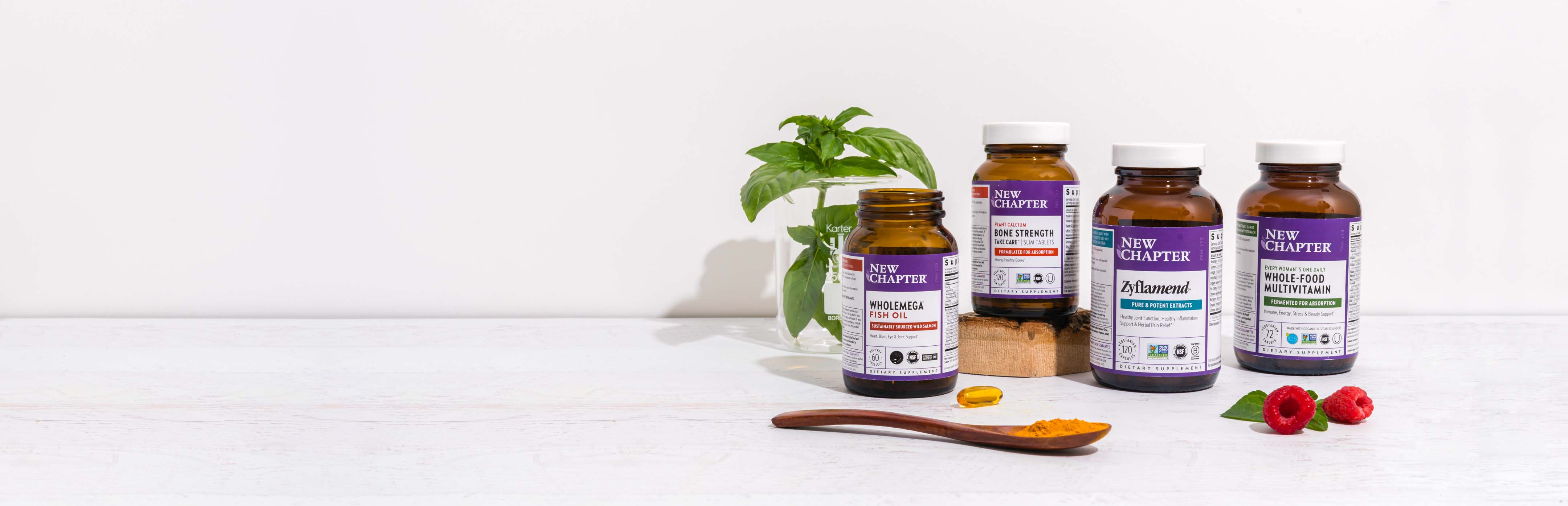 Collection of New Chapter's wellness products, including fermented vitamins and supplements