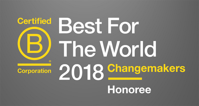 Best for the World 2018 Changemakers Honoree.