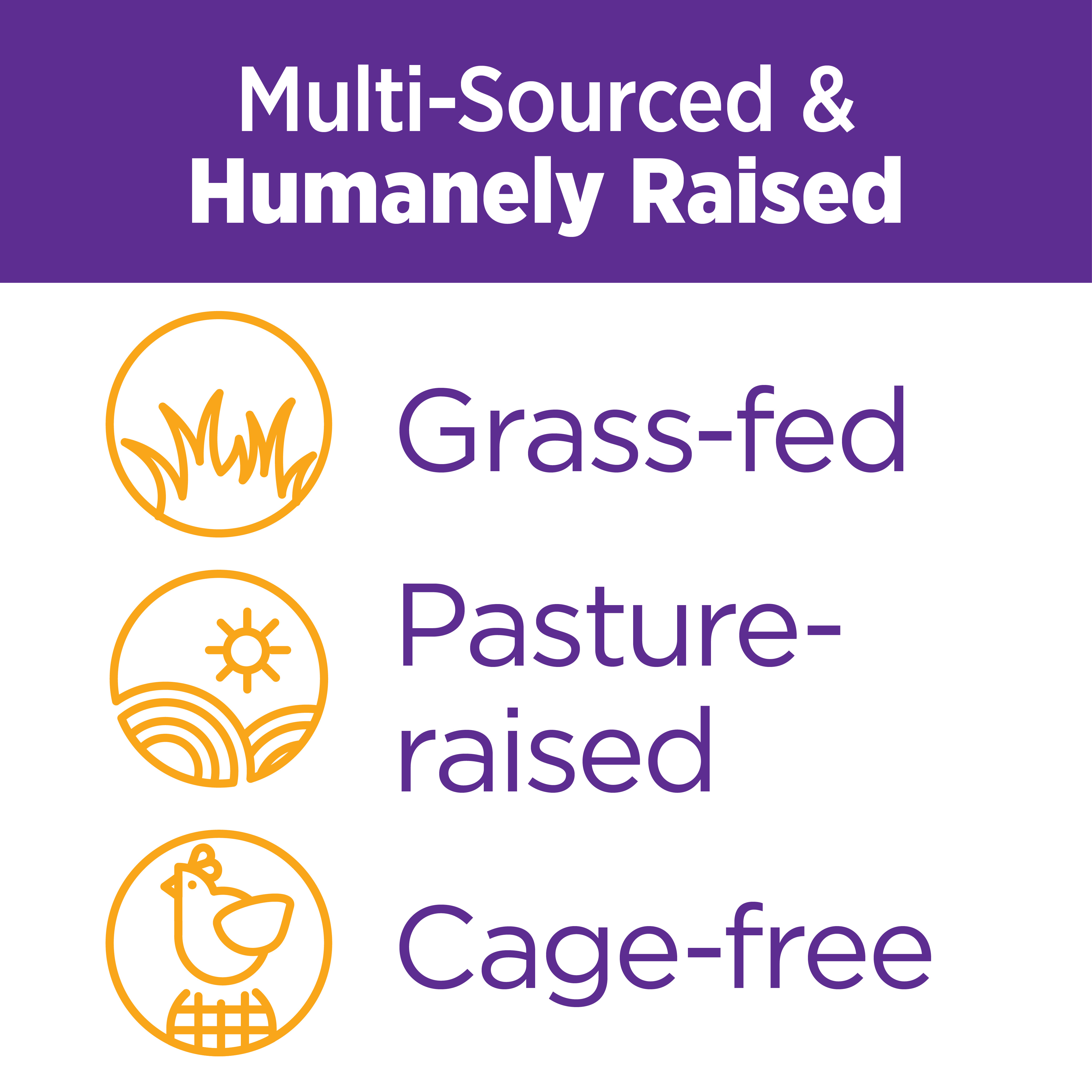 Multi-Sourced & Humanely Raised: Grass-fed, Pasture-raised, Cage-free.