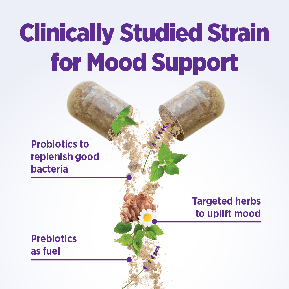Clinically Studied Strain for Mood Support: Probiotics to replenish good bacteria, Prebiotics as fuel, Targeted herbs to uplift mood.