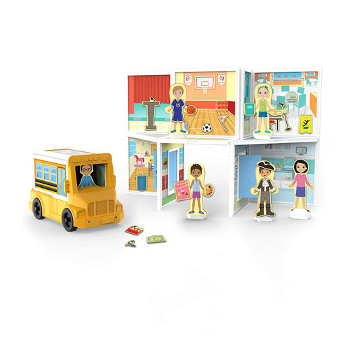 Melissa & Doug Magnetivity School with School Bus Vehicle