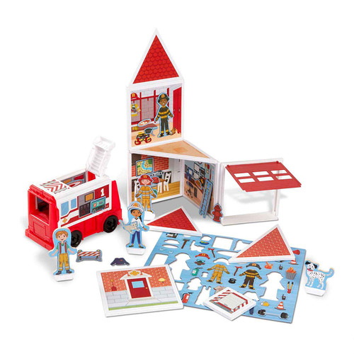 Melissa & Doug Magnetivity Fire Station with Fire Truck Vehicle