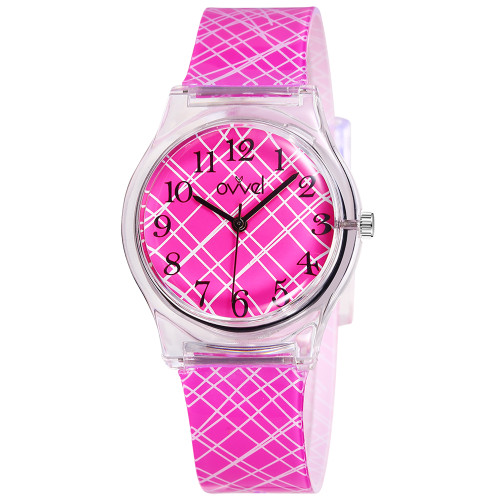 Pink Mix Plastic Band Watch
