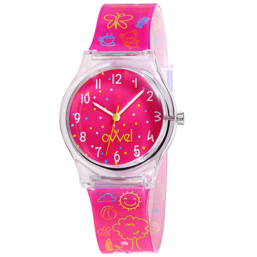 Hot Pink Plastic Band Watch
