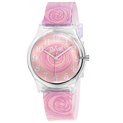 Pink Swirls Plastic Band Watch