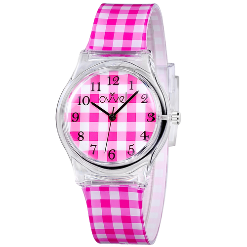 Pink Gingham Plastic Band Watch