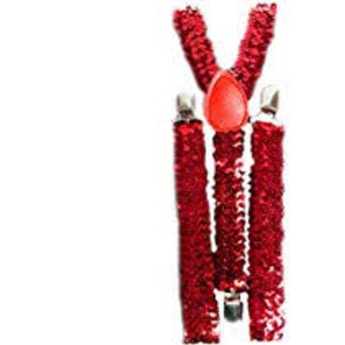 Red Sequin Suspenders Adult