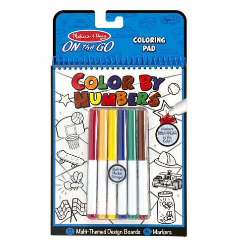 On the Go Color by Numbers Kids' Design Boards With 6 Markers - Playtime, Construction, Sports...