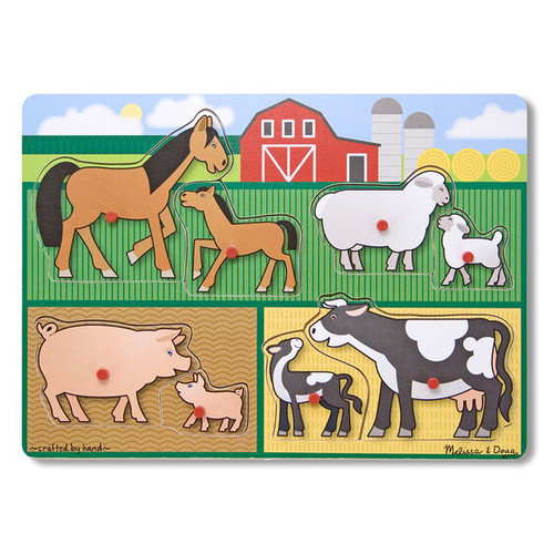 Farm Animal Pairs Peg Puzzle - 8 Pieces