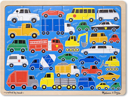 Beep Beep Cars and Trucks Wooden Jigsaw Puzzle With Storage Tray (24 pcs)