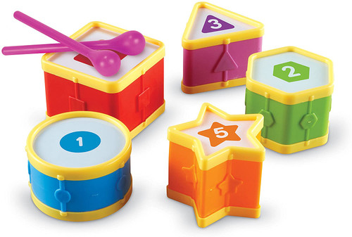 Colored Learning Drums, Number and Shapes