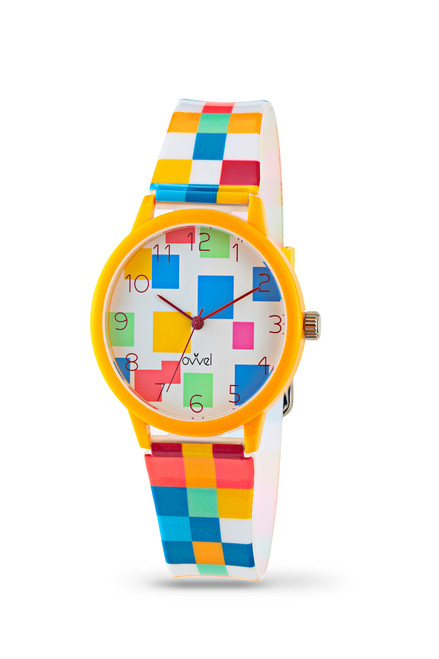 Colorful Squares Plastic Band Watch