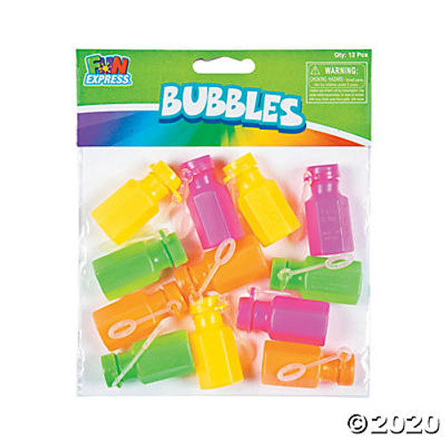 Mini Neon Hexagon Bubble Bottles Set of 12