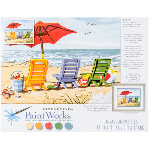 Beach Chair Trio Paint by Number