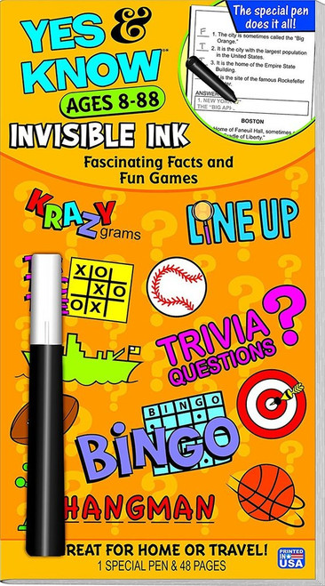 Yes & Know Invisible Ink, Fascinating Facts and Fun Games, Ages 8-88