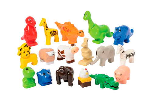 Animals for Preschool Building Bricks, Set of 17(compatible with Duplo)