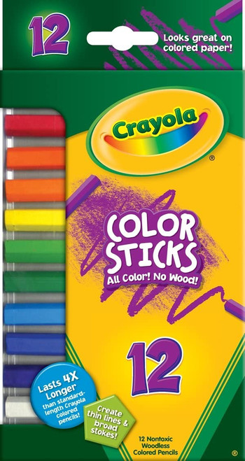 Crayola Color Sticks Woodless Colored Pencils 12 Ct