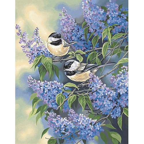 Paint By Number Chickadees & Lilacs