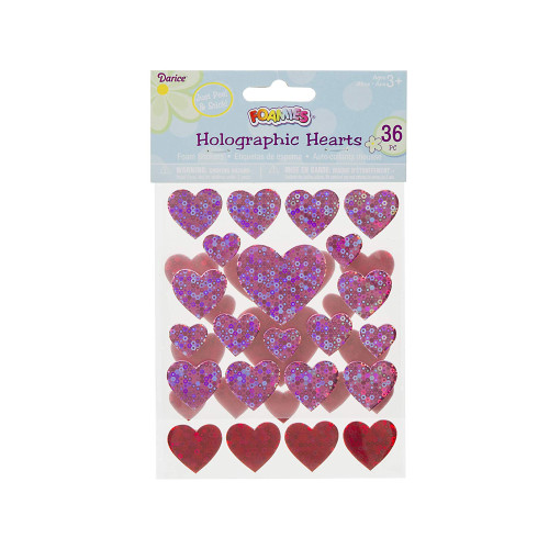 Foamies Stickers - Hearts - Hot Pink and Red