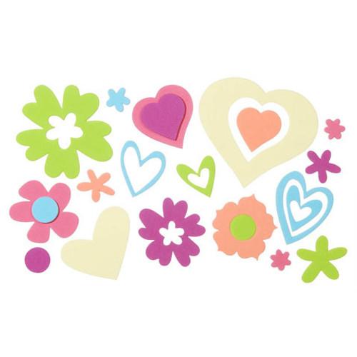 Foam Sticker Bucket Hearts Flowers 5 Ounces