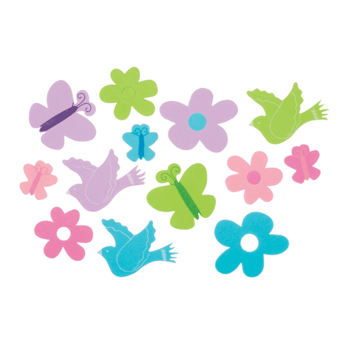 Foam Stickers Butterflies, Flowers and Birds