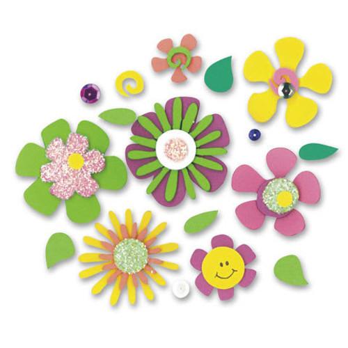 Foam Stickers Black Light Flowers