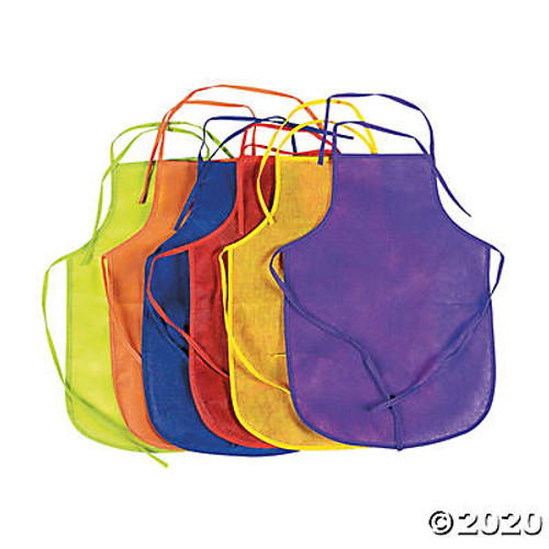Child's Brightly Colored Aprons Set of 12