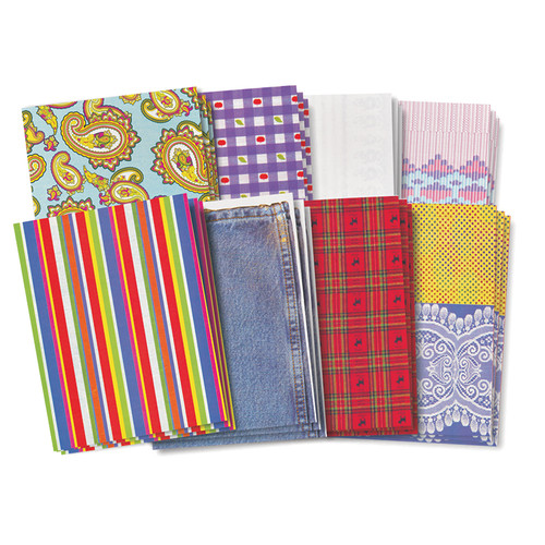 Assorted Pattern Fabric Paper Design 8-1/2 x 11 Inches 40 Sheets
