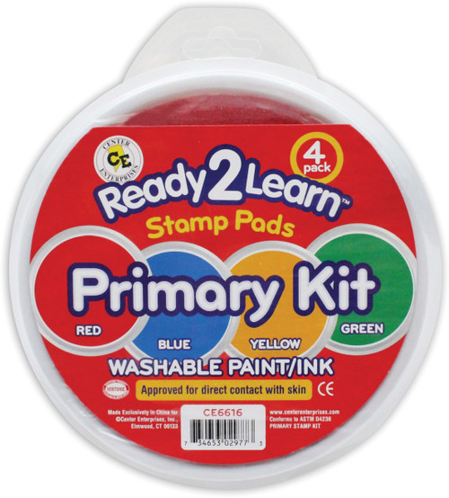 Jumbo Circular Washable Stamp Pads Primary Kit Set of 4