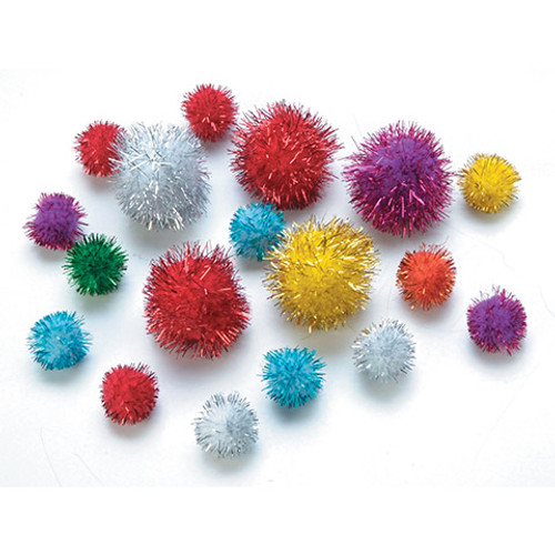 Pom Poms Glitter Assorted Sizes - 25 pieces