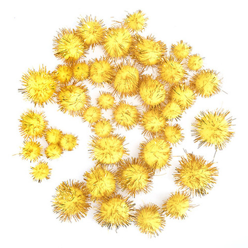 Gold Tinsel Pom Poms .5 to 1 inch-40 Pieces