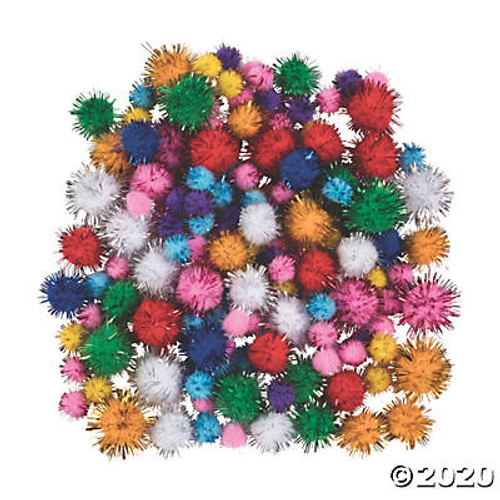 Glitter Pom-Poms Assorted Sizes